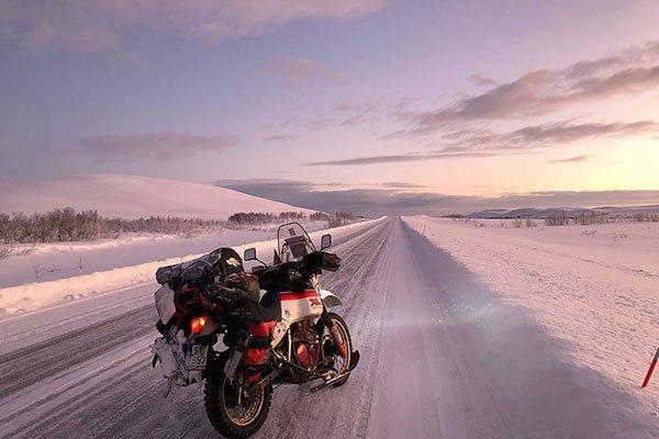 White Wolf motorcycle Oymyakon Siberia