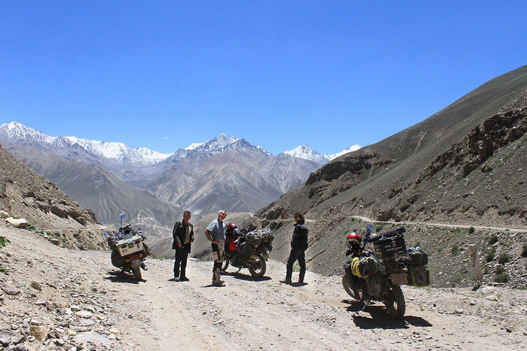 Adventure Motorcycling team in the Pamirs