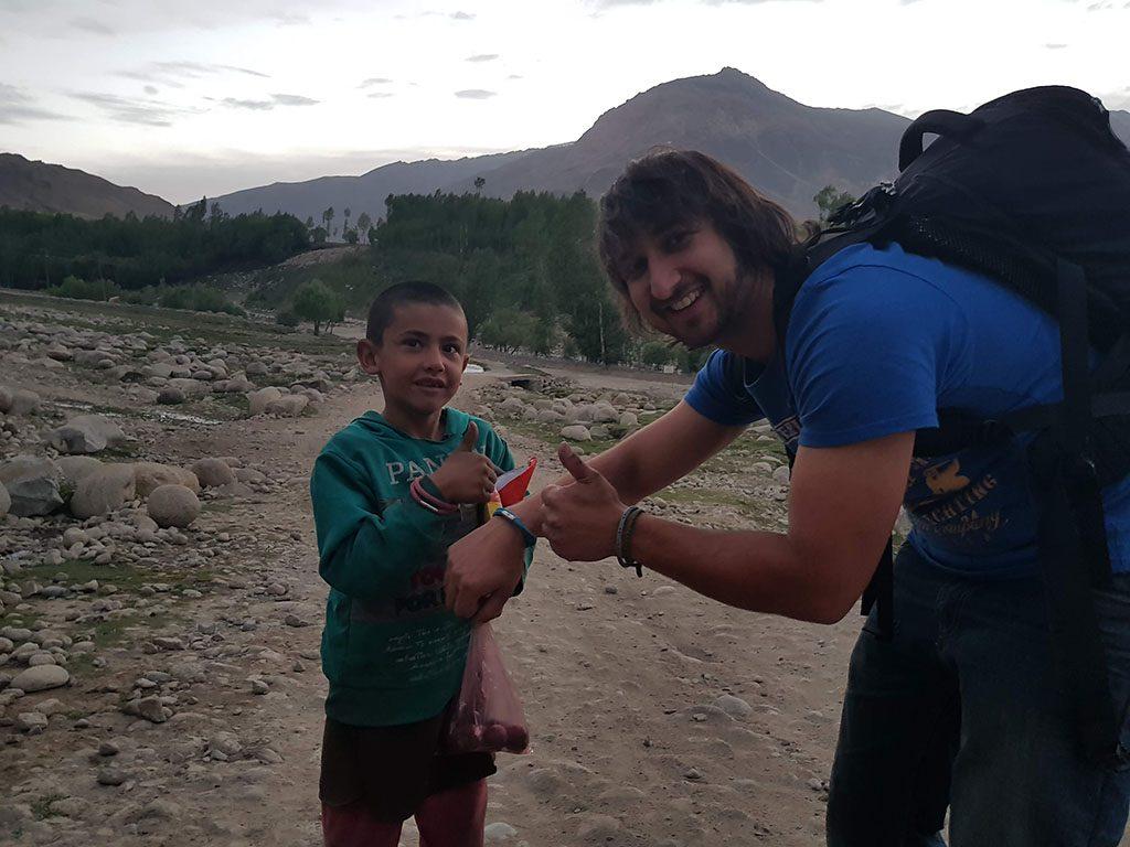 Afghan kid and presents