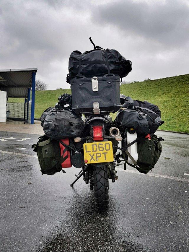 Overloaded adventure bike