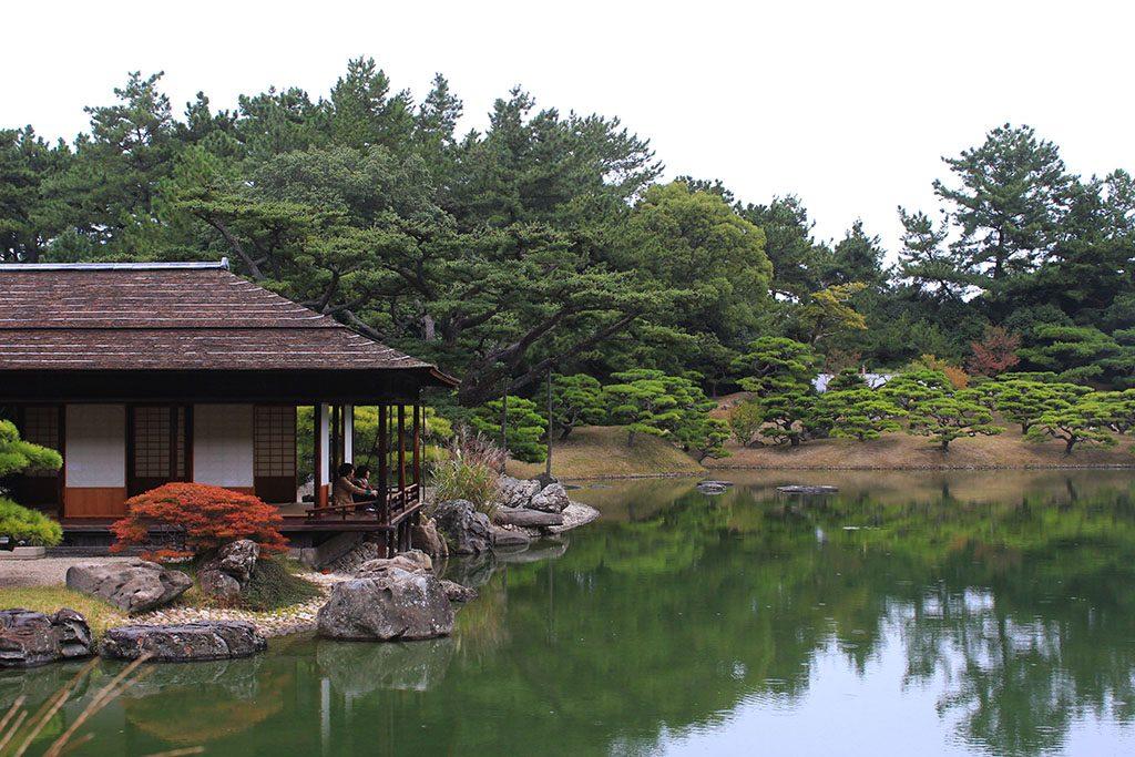 Having tea at Ritsurin Garden