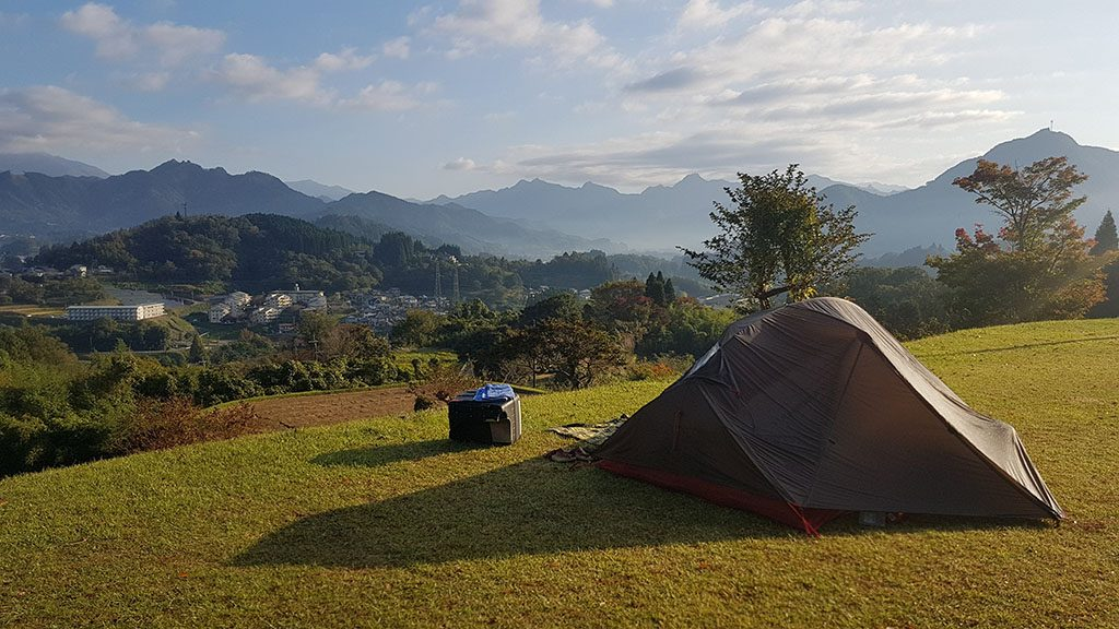 Takachiho Gorge camping in Japan