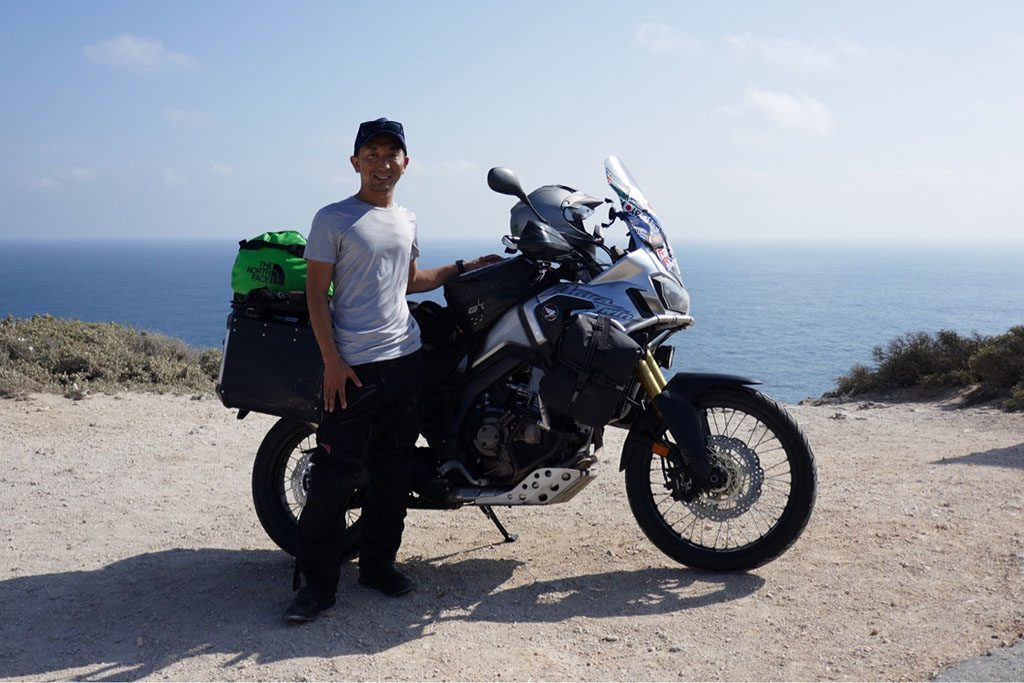 Japanese adventurer Jin on his Africa Twin