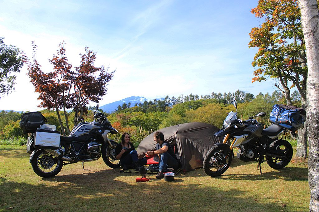 BMW R1200GSA and BMW G310GS motorcycles camping in Japan