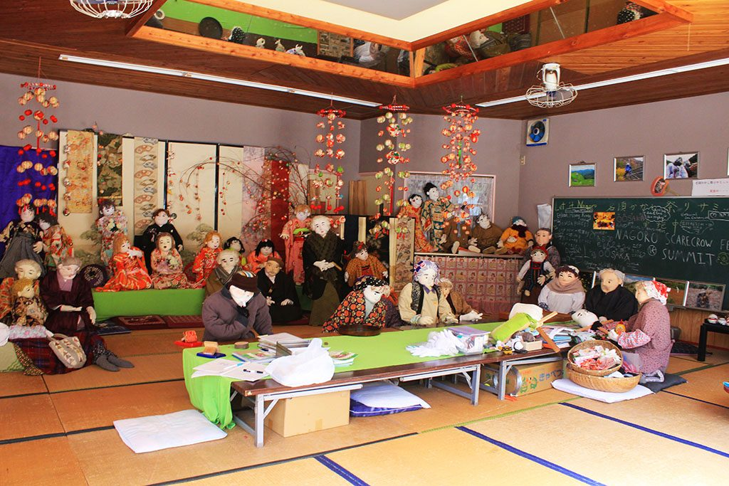 Nagoro scarecrow town hall meeting