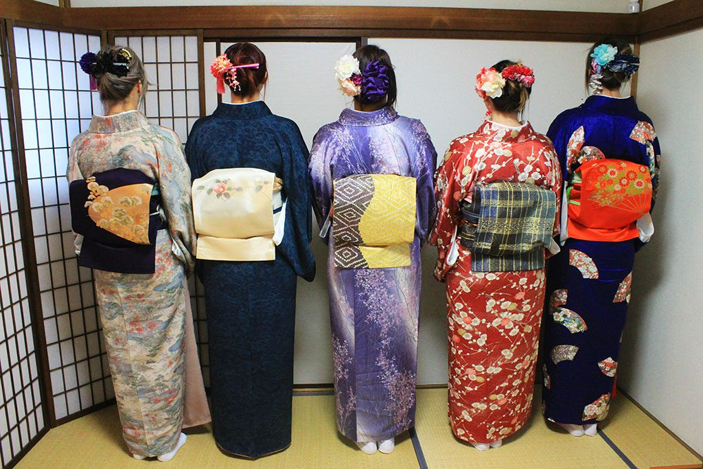 Women wearing kimonos for traditional Japanese tea ceremony in Tokyo