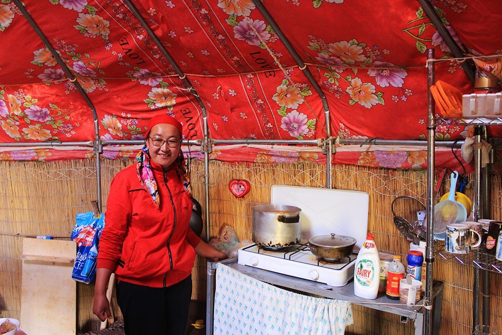Kitchen in Kyrgyzstan yurt
