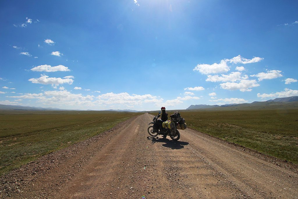 Lonely adventure bike riding in Kyrgyzstan