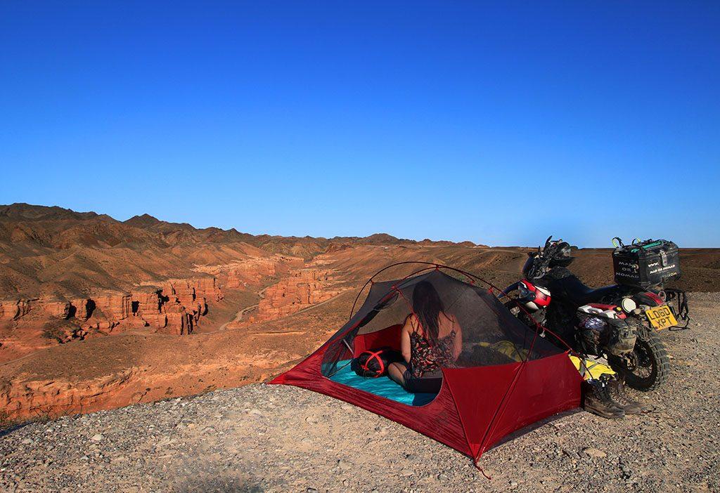 Motorcycle camping in Charyn Canyon Kazakhstan