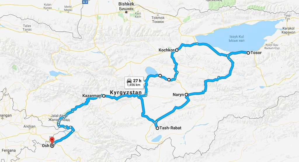 Route map for motorcycling in Kyrgyzstan