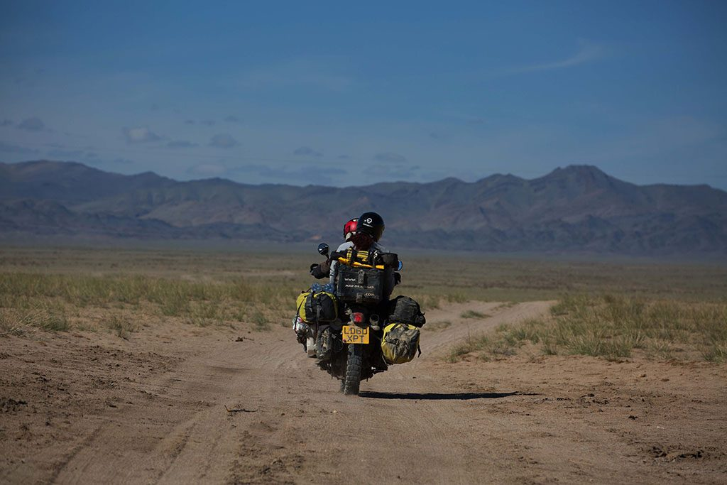 Two up motorcycle travel through Mongolia