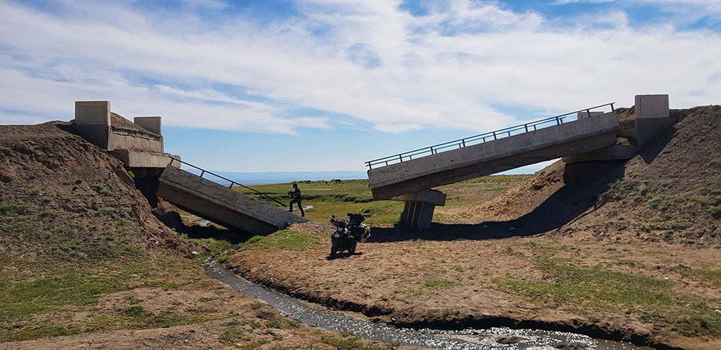 Broken bridges and bad roads in Mongolia