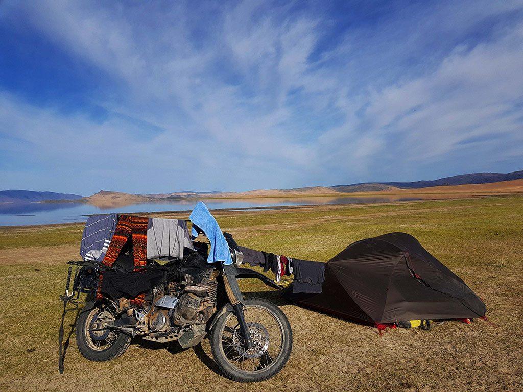 Adv bike camping in Mongolia
