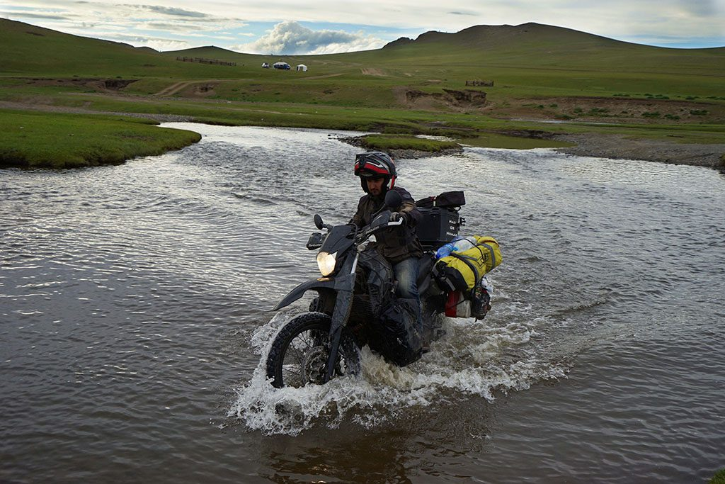 Adventure bike travel water crossings in Mongolia