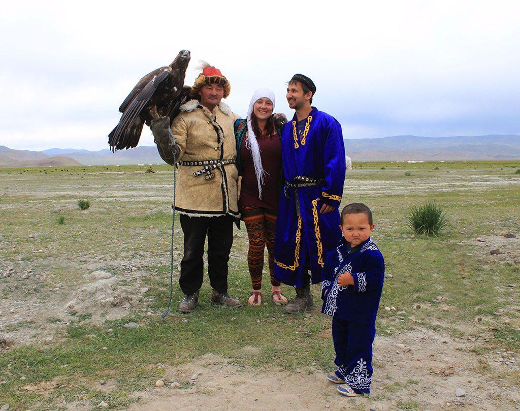 Eagle hunter family in Mongolia
