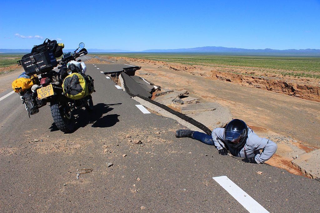 Broken roads in Mongolia on a motorbike