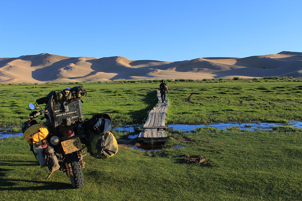 Adventure Motorcycle Travel in Mongolia Gobi Desert