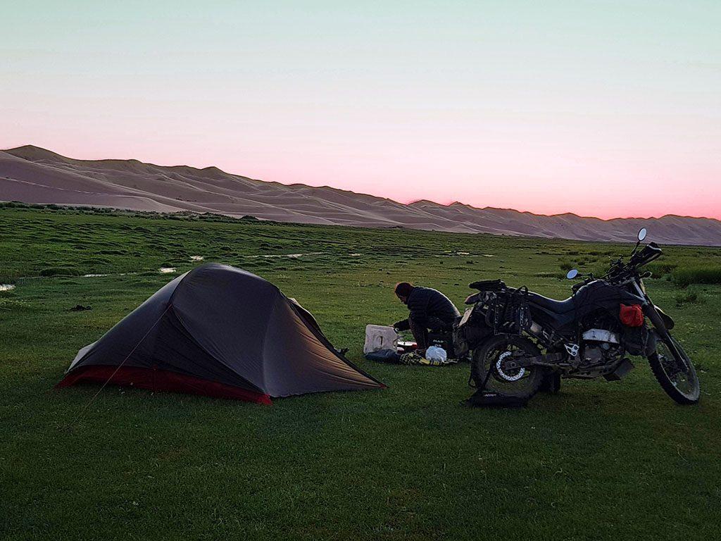 motorcycle camping in Mongolia Gobi Desert