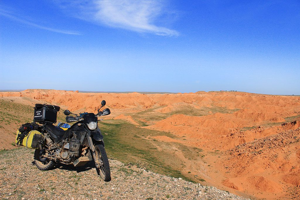 Adventure Motorcycle Travel in Mongolia Red Cliffs