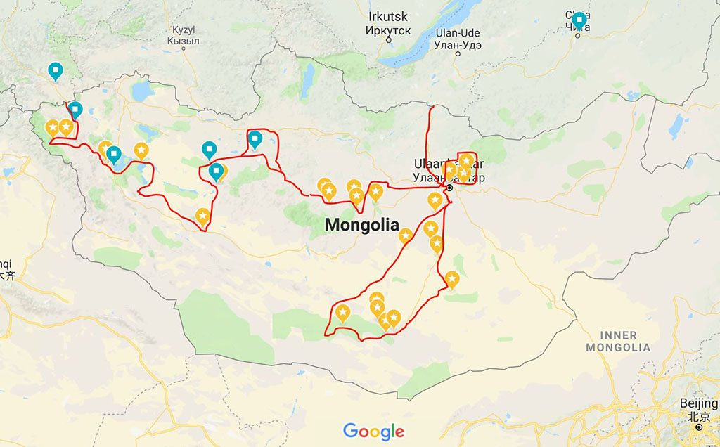 Adventure Motorcycle Travel Guide map for Mongolia