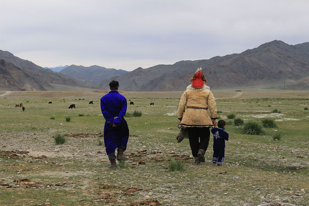 Eagle hunter in Mongolia taking a stroll