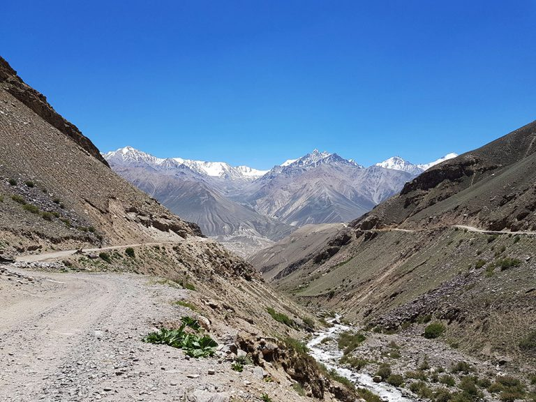 The river panj between tajikistan and afghanistan in the Wakhan Corridor