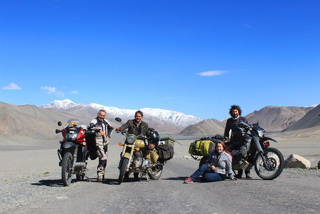 adv motorbike team in the Pamirs