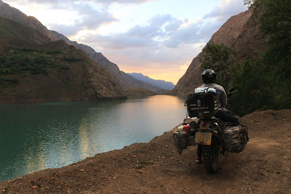 Adventure Motorcycling in the Pamir Mountains of Tajikistan and beautiful sunsets