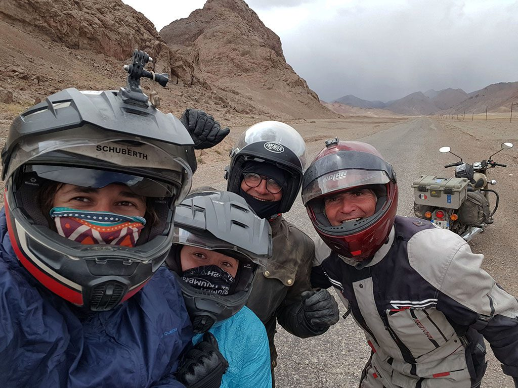 Adventure biking team in Tajikistan