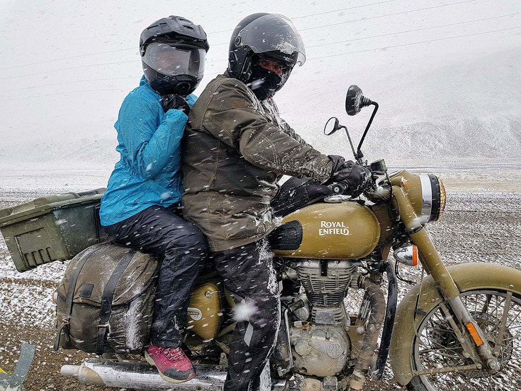Adventure motorcyling with a pillion in the snow
