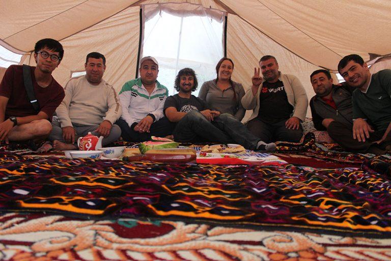 Making new friends in Tajikistan