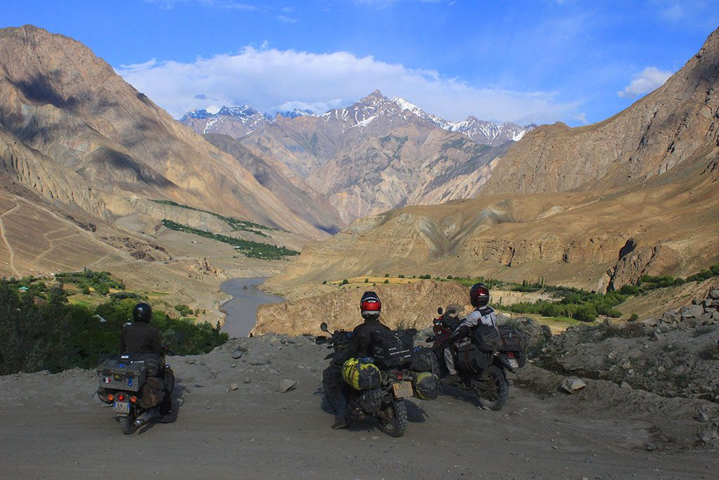 Adventure bike team in Tajikistan