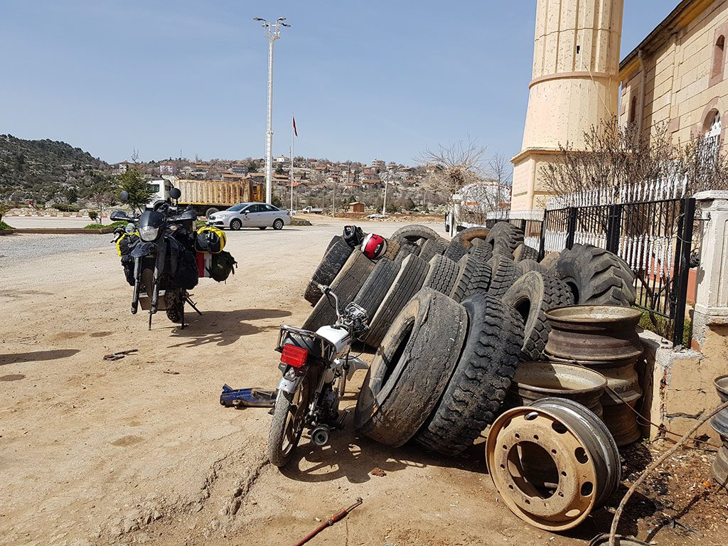Motorcycle puncture in Turkey