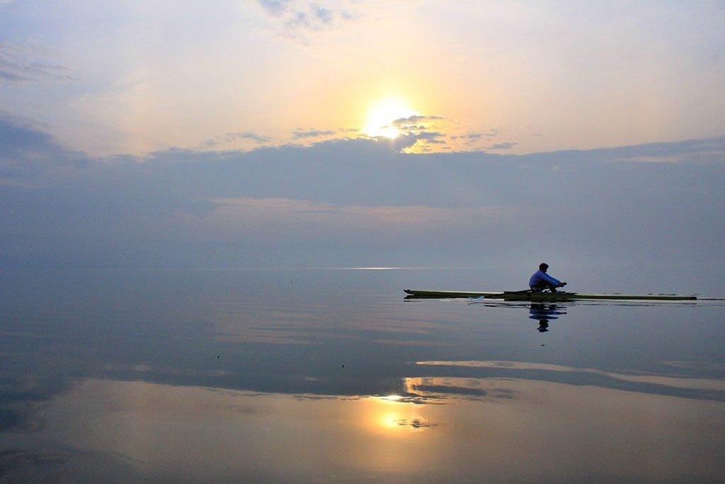 Rowing on Iznik lake in Turkey