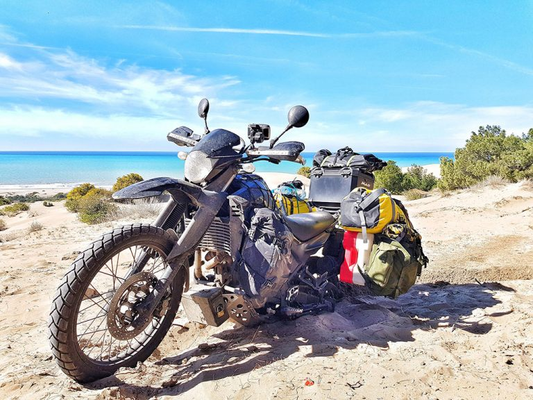 Motorcycle stuck in sand