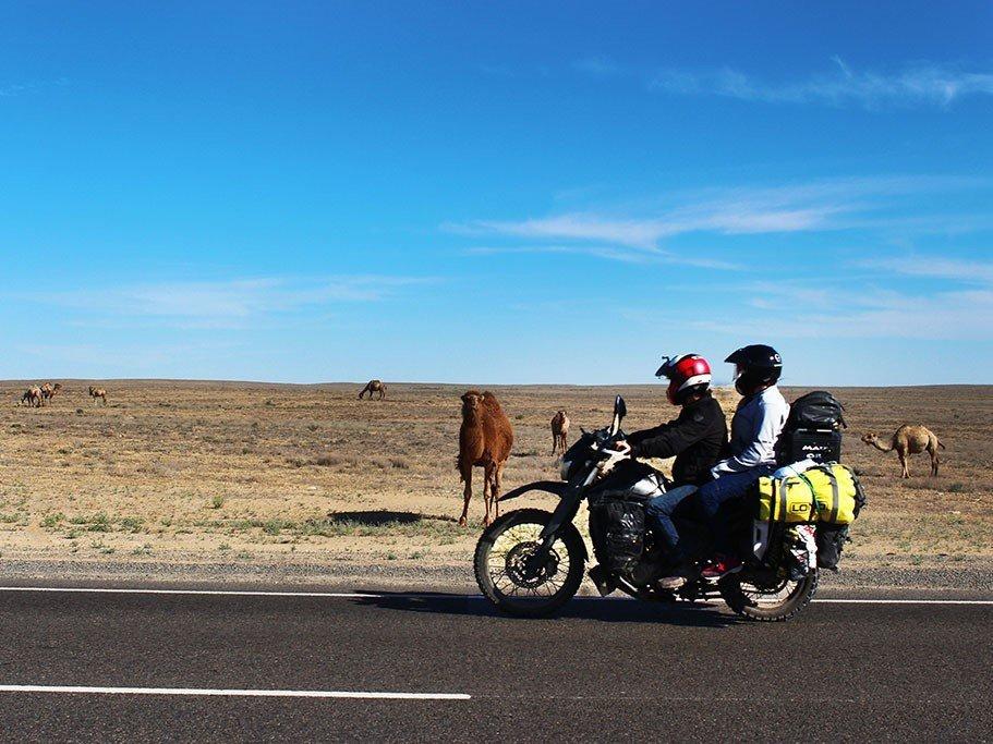 Motorcycle riding in Uzbekistan