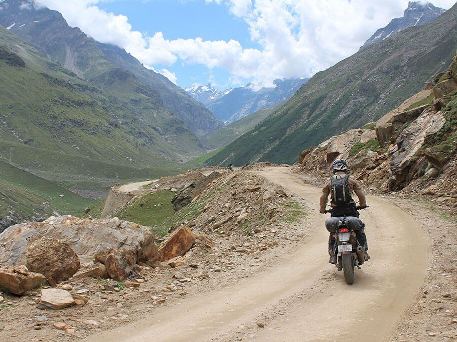 Riding Royal Enfield in Ladakh India