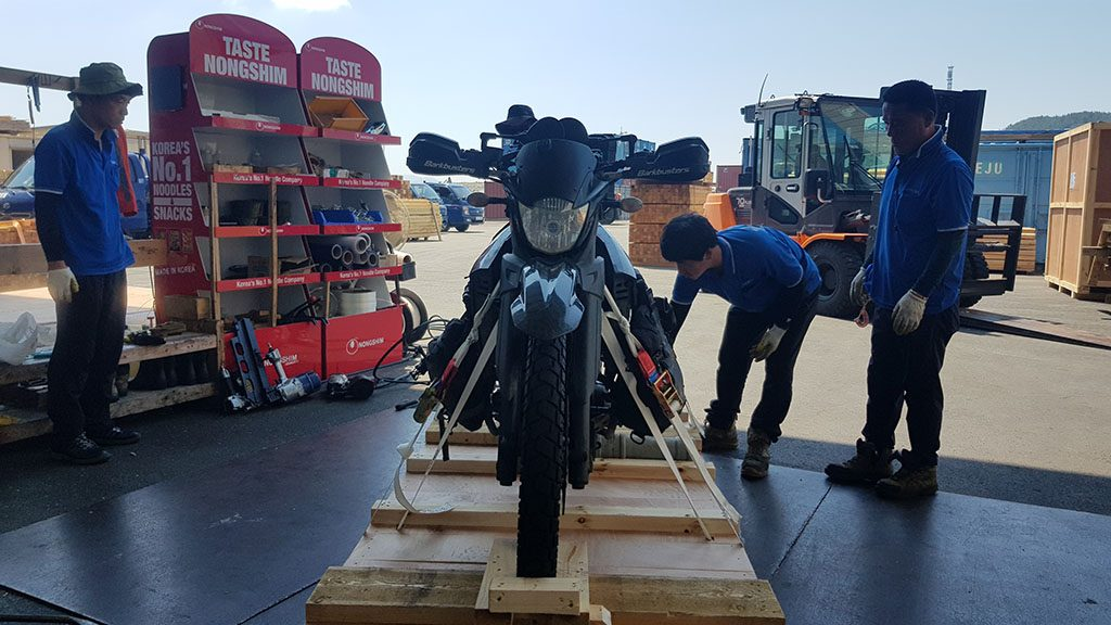 Crating a motorcycle in South Korea for shipment