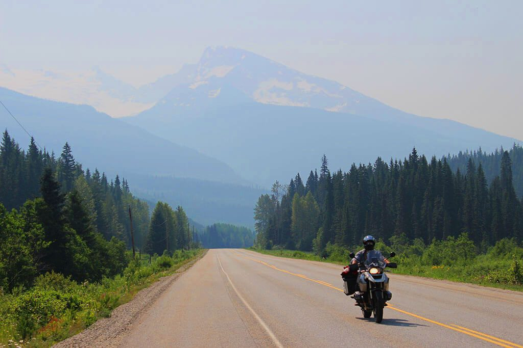 riding a motorbike in canadian rockies