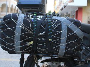 pacsafe net on motorcycle