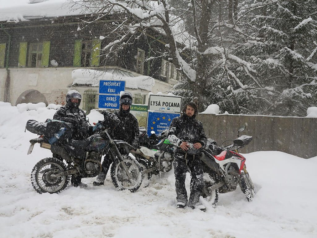 Cold weather motorcycle riding in Slovakia