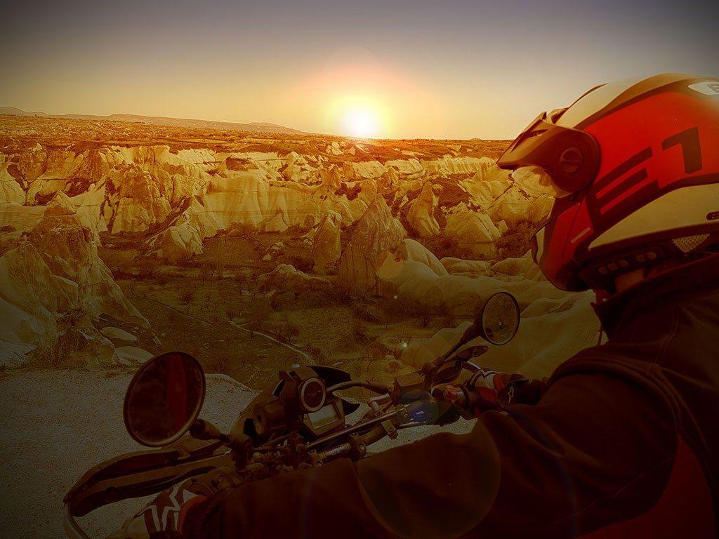Motorcycle Helmet in Cappadocia, Turkey