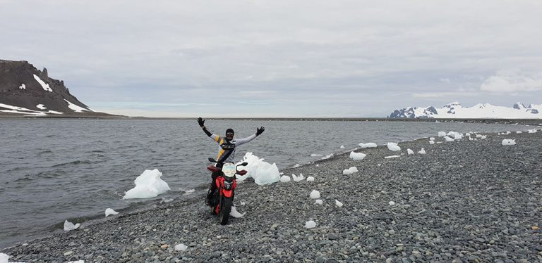 Motorcycle on Yankee Harbour Antarctica