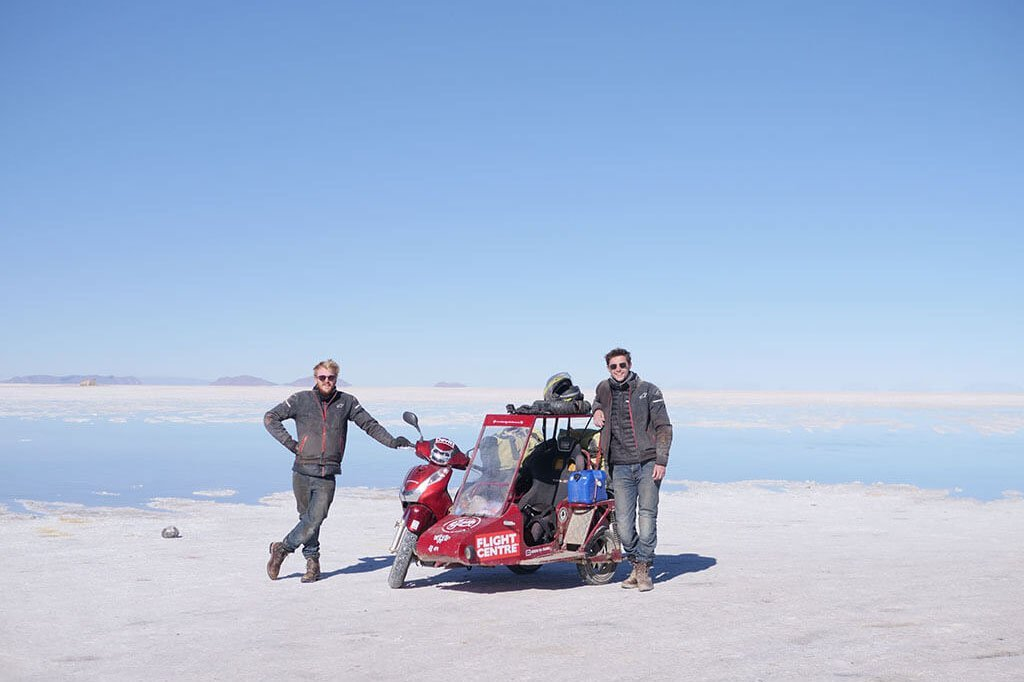 scooter and sidecar on salt flats