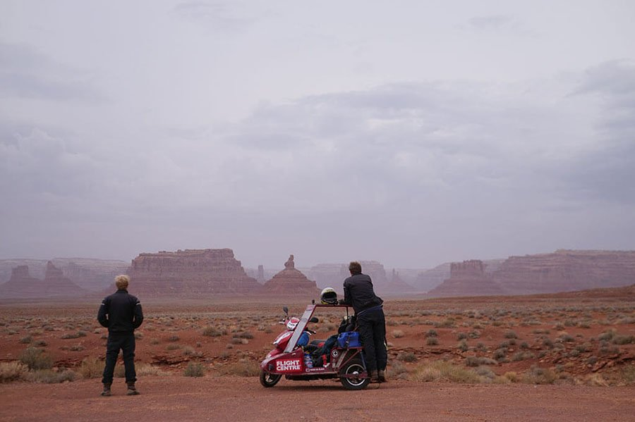 Scooter and sidecar Valley of the Gods