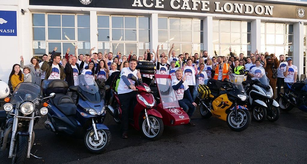 Scooter and sidecar departure ace cafe london with lets nail it campaign